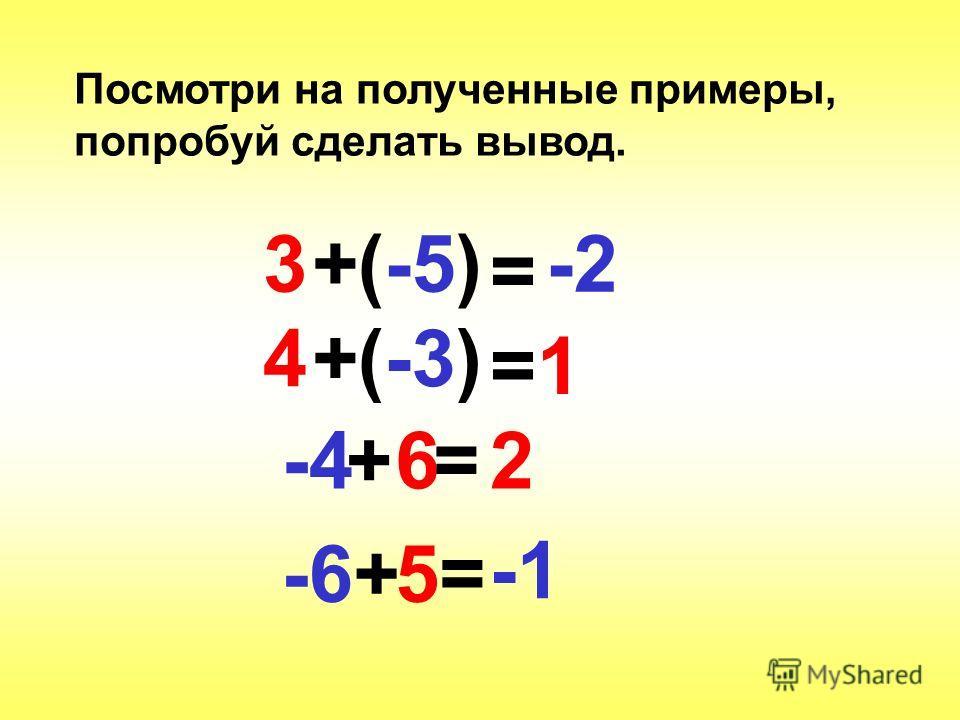 Посмотри на полученные примеры, попробуй сделать вывод. 3(-5)+ = -2 4(-3)+ =1=1 -6+5=5= +-46=2