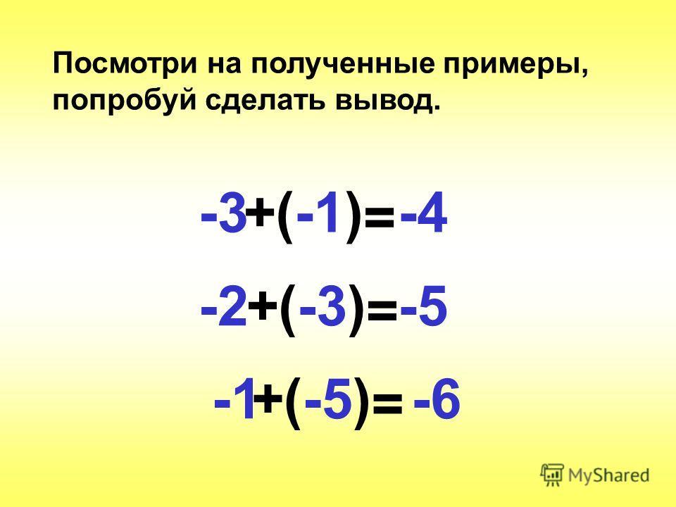-3+(-1) = -4 -2+(-3) = -5 (-5)-6+ = Посмотри на полученные примеры, попробуй сделать вывод.