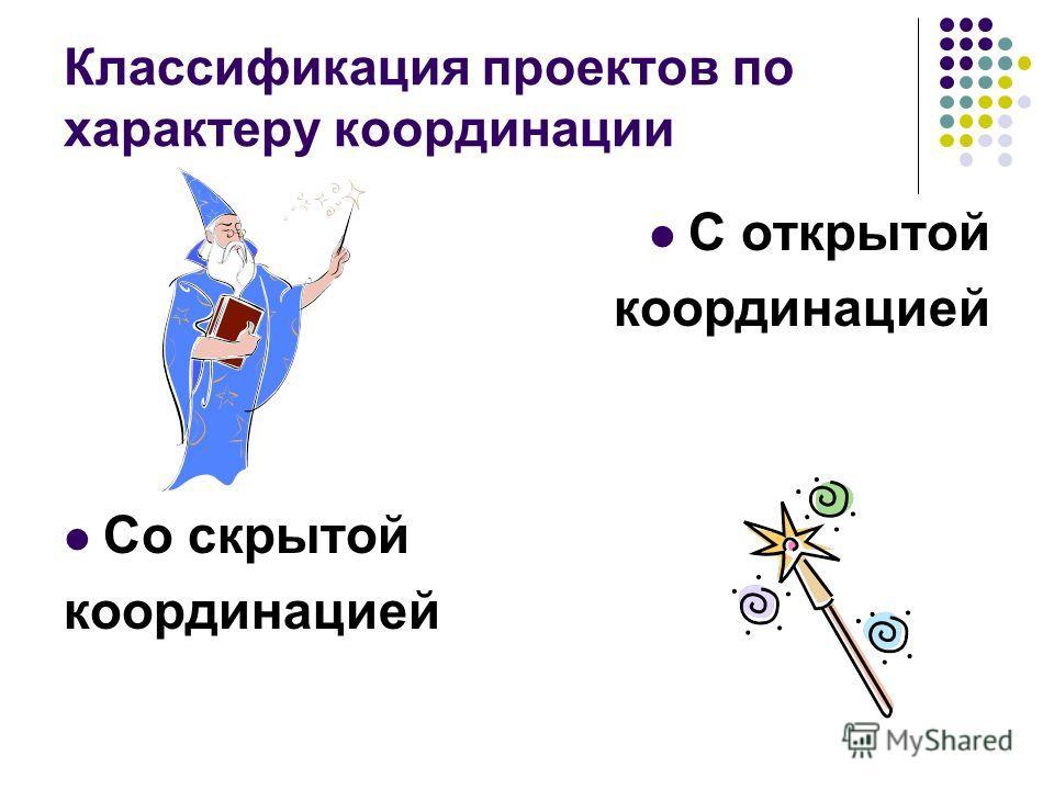 Классификация проектов по характеру координации С открытой координацией Со скрытой координацией