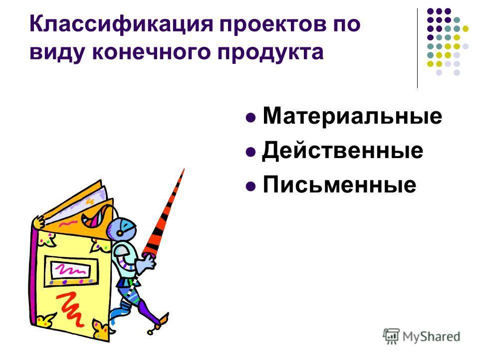 Классификация проектов по виду конечного продукта Материальные Действенные Письменные