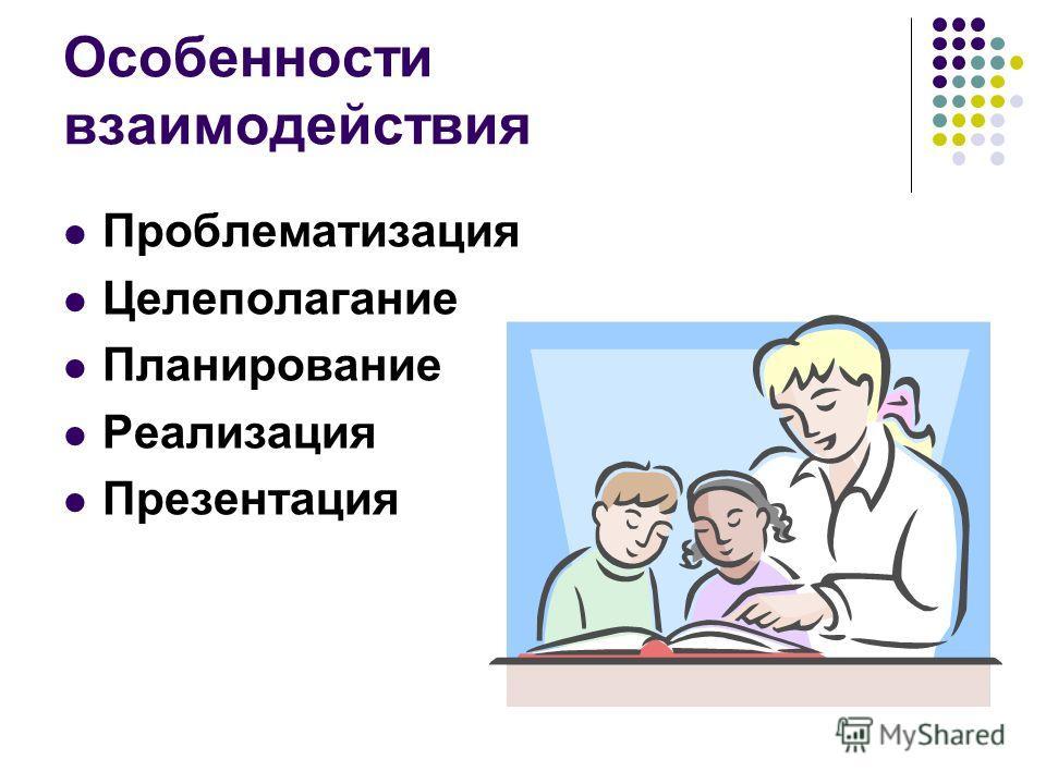 Особенности взаимодействия Проблематизация Целеполагание Планирование Реализация Презентация