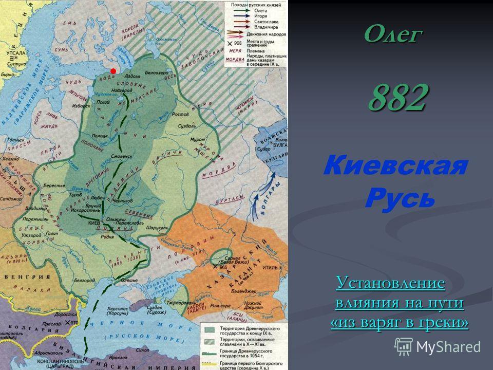 Киевская Русь Установление влияния на пути «из варяг в греки» Установление влияния на пути «из варяг в греки»Олег 882