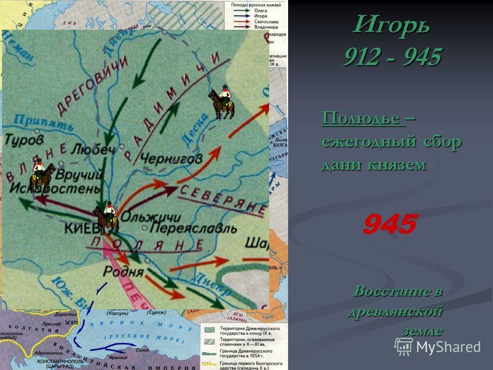 Игорь 912 - 945 Полюдье – ежегодный сбор дани князем 945 Восстание в древлянской земле
