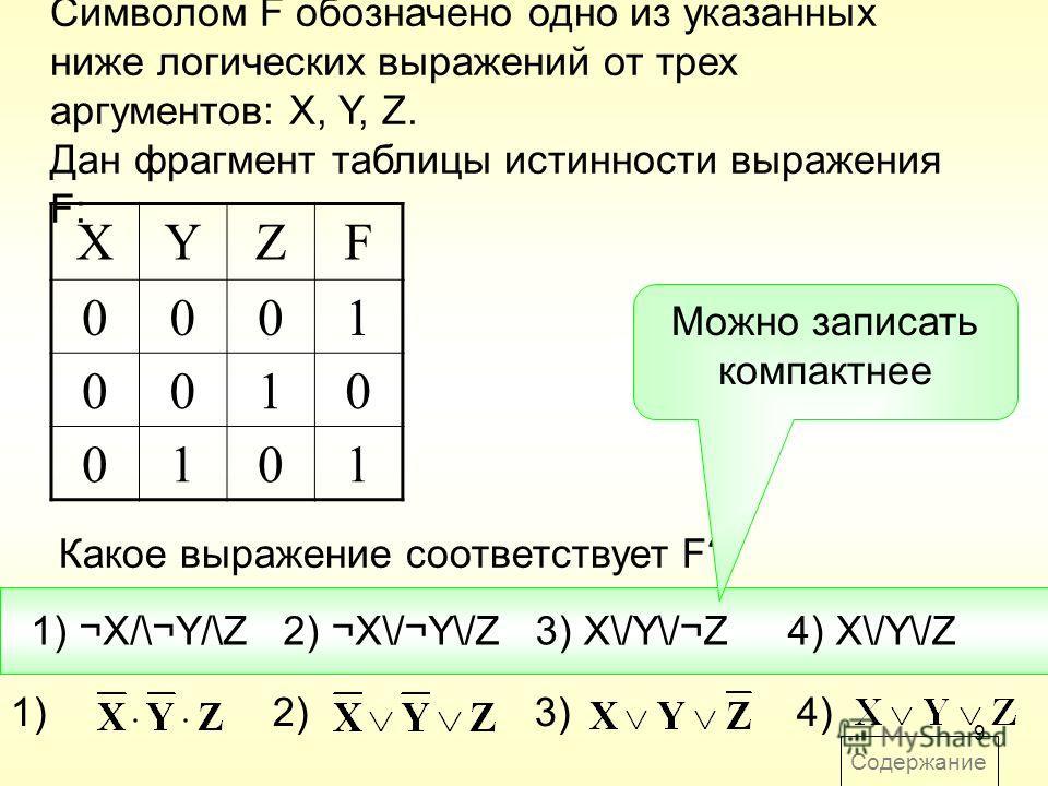 9 Содержание Символом F обозначено одно из указанных ниже логических выражений от трех аргументов: X, Y, Z. Дан фрагмент таблицы истинности выражения F: Какое выражение соответствует F? XYZF 0001 0010 0101 1) ¬X/\¬Y/\Z2) ¬X\/¬Y\/Z3) X\/Y\/¬Z4) X\/Y\/
