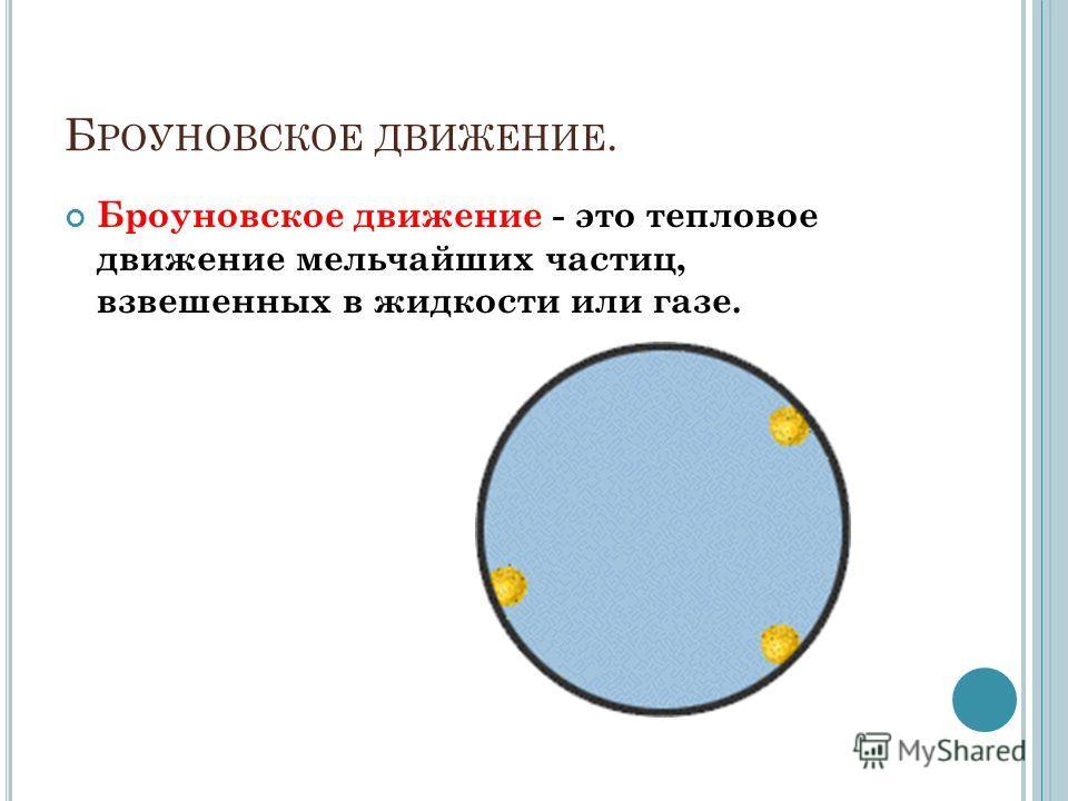 Б РОУНОВСКОЕ ДВИЖЕНИЕ. Броуновское движение - это тепловое движение мельчайших частиц, взвешенных в жидкости или газе.