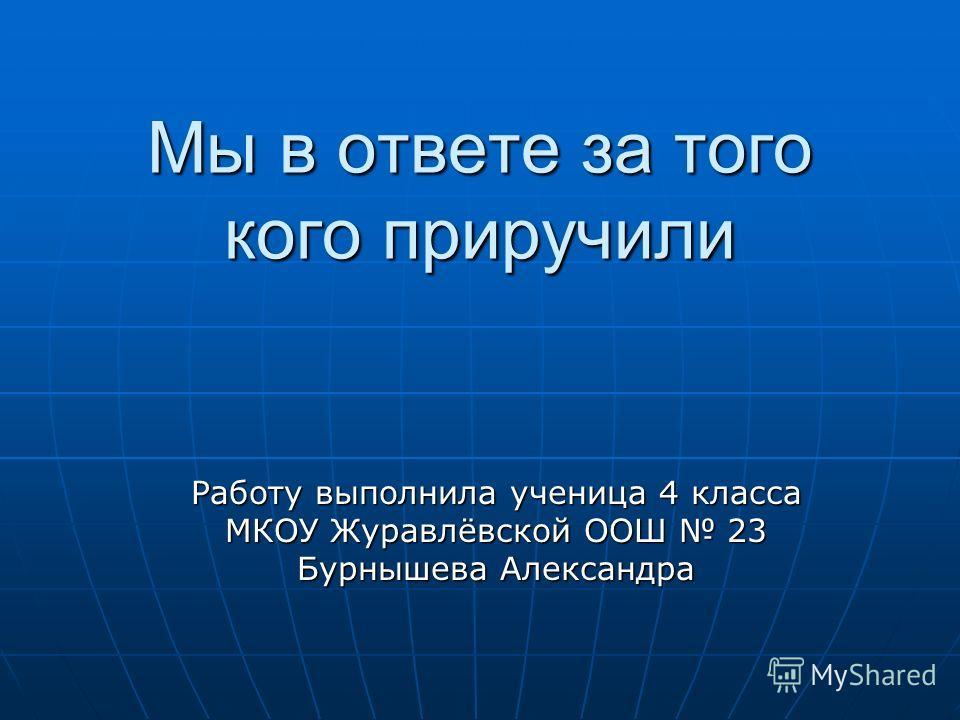 Мы в ответе за того кого приручили Работу выполнила ученица 4 класса МКОУ Журавлёвской ООШ 23 Бурнышева Александра