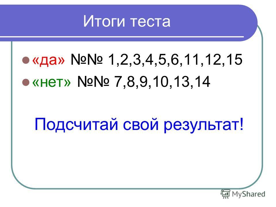 Итоги теста «да» 1,2,3,4,5,6,11,12,15 «нет» 7,8,9,10,13,14 Подсчитай свой результат!