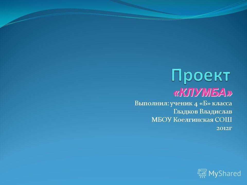 «КЛУМБА» Выполнил: ученик 4 «Б» класса Гладков Владислав МБОУ Коелгинская СОШ 2012г