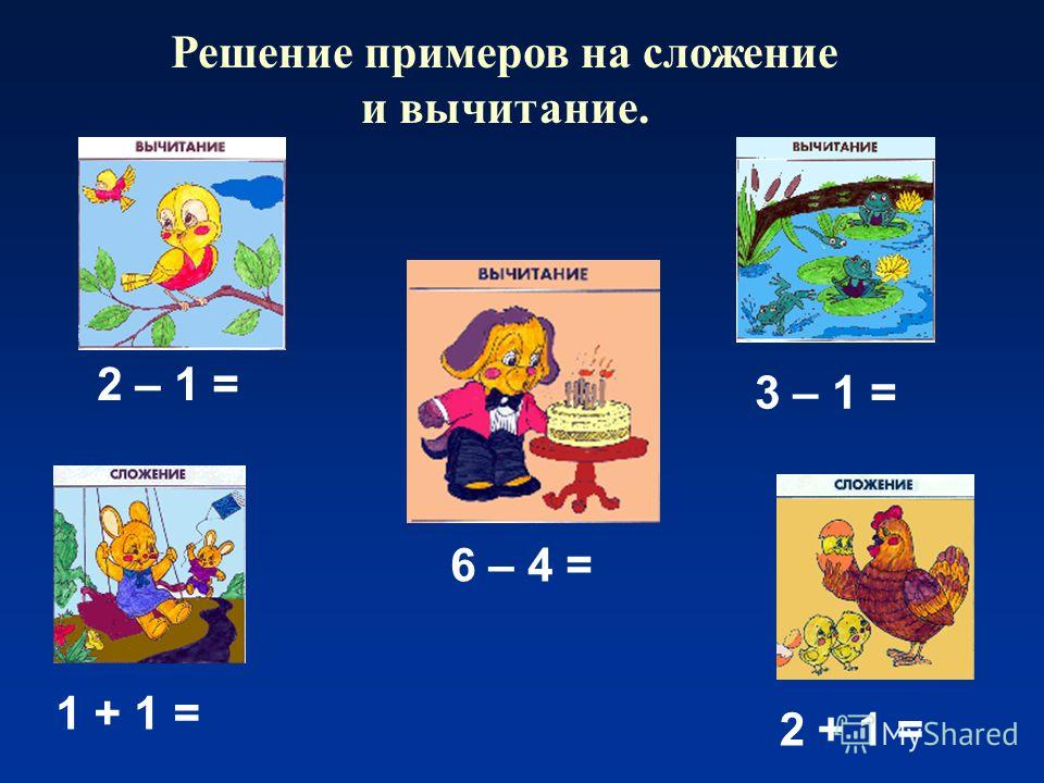 Решение примеров на сложение и вычитание. 2 – 1 = 6 – 4 = 3 – 1 = 1 + 1 = 2 + 1 =