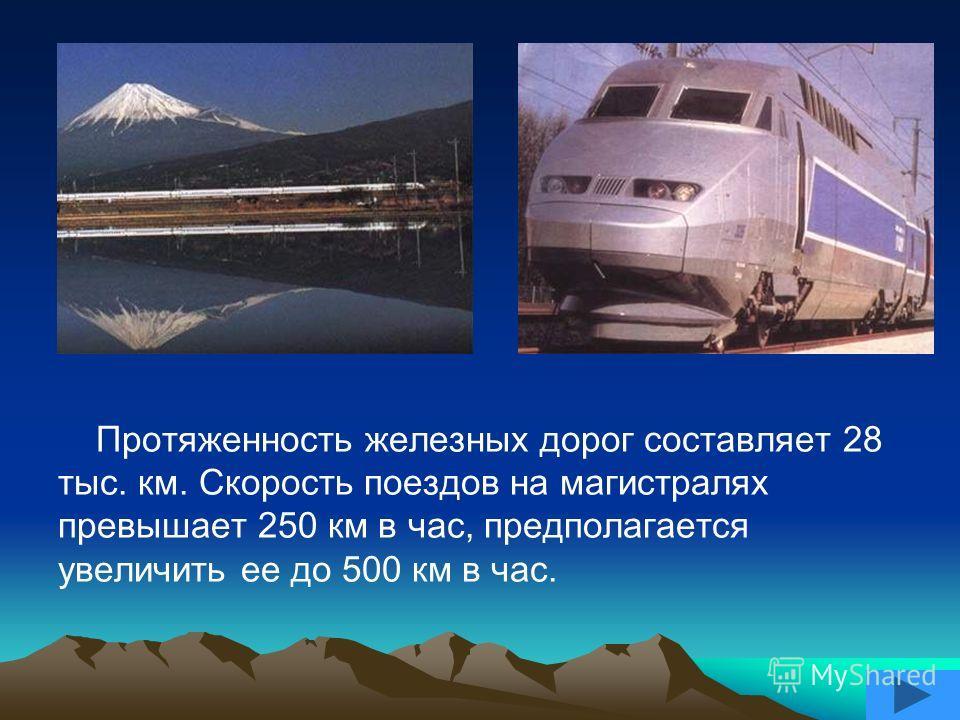Протяженность железных дорог составляет 28 тыс. км. Скорость поездов на магистралях превышает 250 км в час, предполагается увеличить ее до 500 км в час.