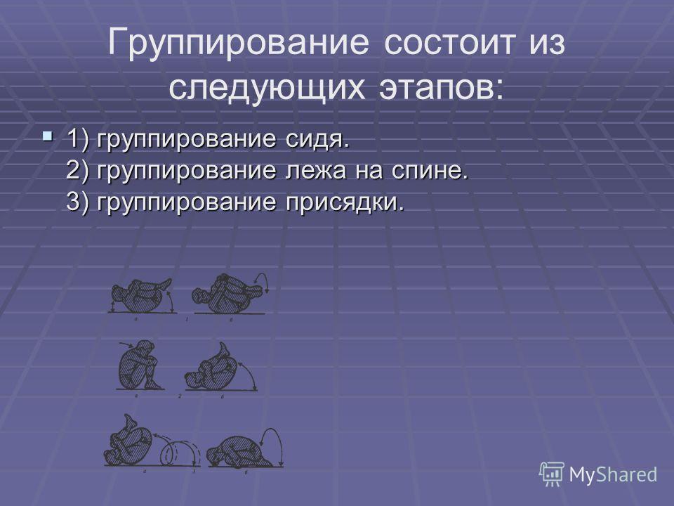 Группирование состоит из следующих этапов: 1) группирование сидя. 2) группирование лежа на спине. 3) группирование присядки. 1) группирование сидя. 2) группирование лежа на спине. 3) группирование присядки.