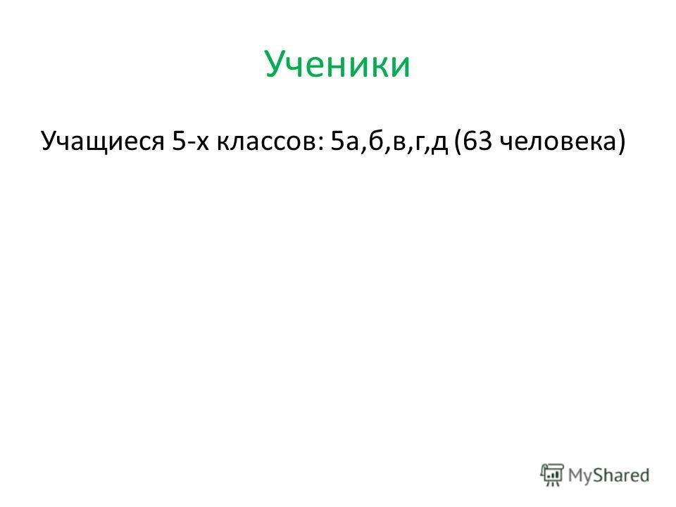 Ученики Учащиеся 5-х классов: 5а,б,в,г,д (63 человека)