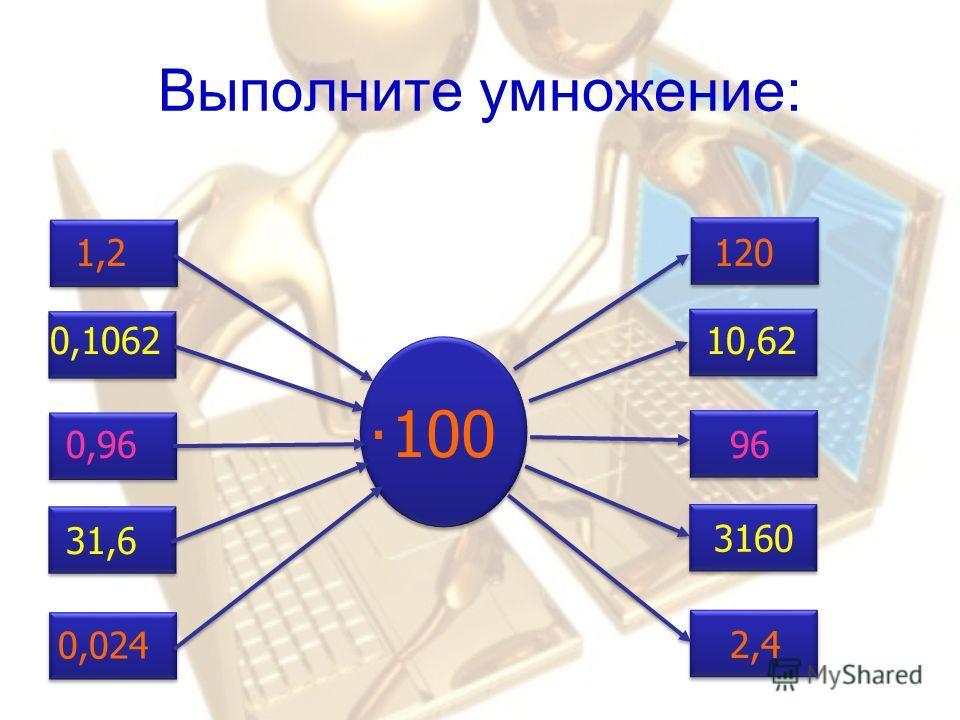 Выполните умножение: 100 1,2120 0,9696 0,106210,62 31,6 3160 0,024 2,4.