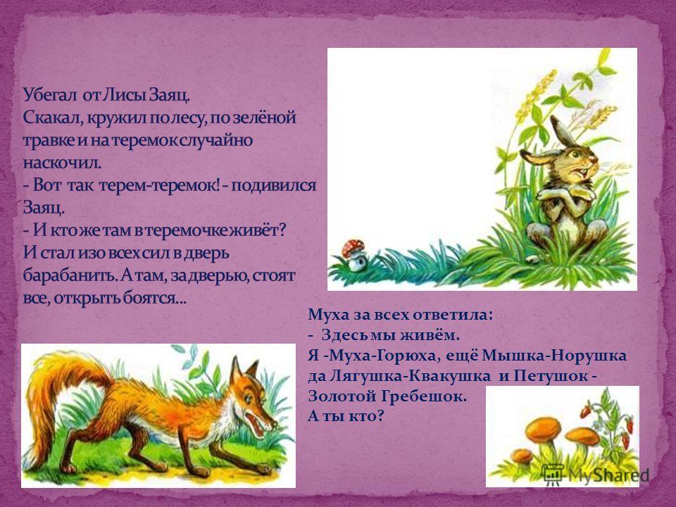 Муха за всех ответила: - Здесь мы живём. Я -Муха-Горюха, ещё Мышка-Норушка да Лягушка-Квакушка и Петушок - Золотой Гребешок. А ты кто?