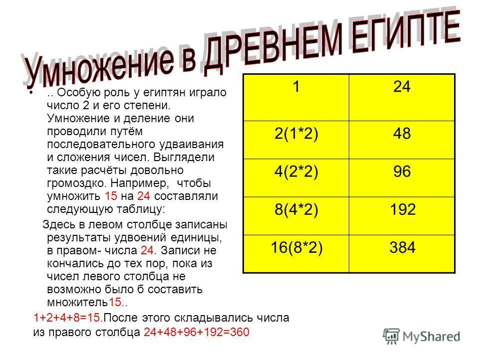 .. Особую роль у египтян играло число 2 и его степени. Умножение и деление они проводили путём последовательного удваивания и сложения чисел. Выглядели такие расчёты довольно громоздко. Например, чтобы умножить 15 на 24 составляли следующую таблицу: