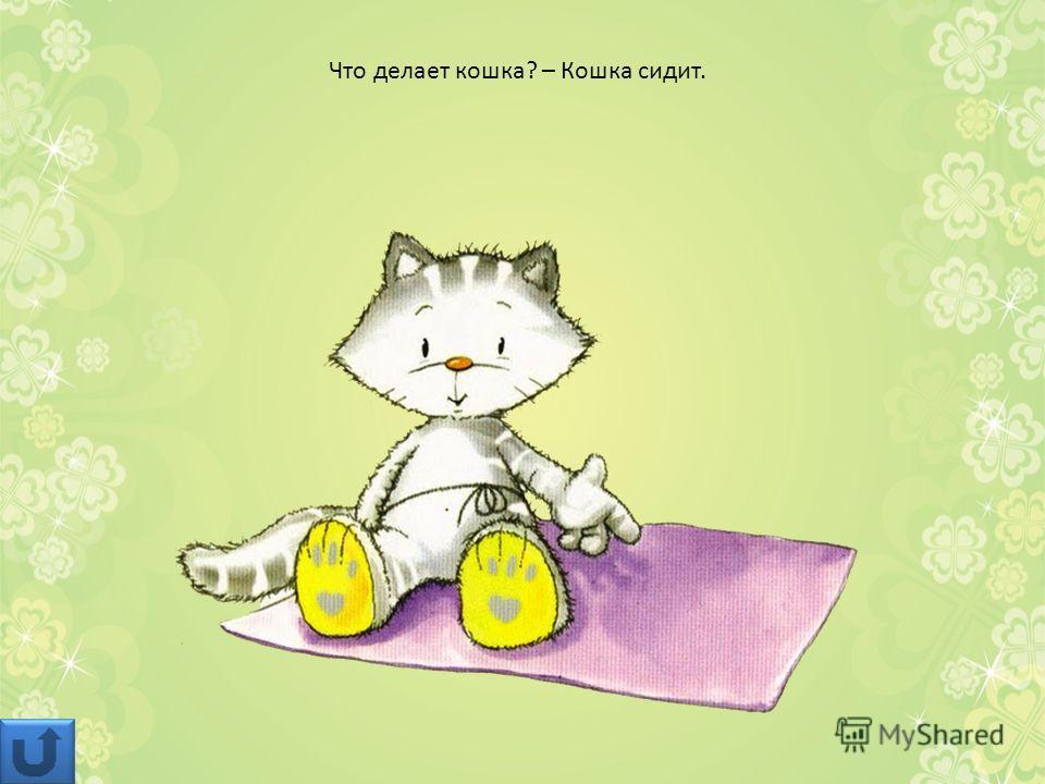Что делает кошка? – Кошка сидит.