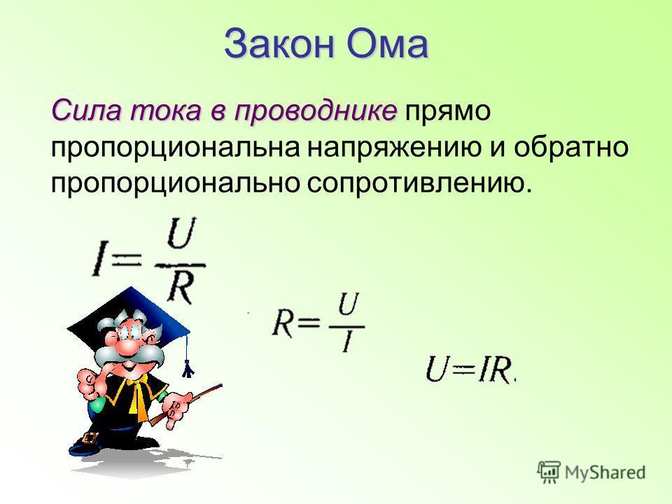 Закон Ома Сила тока в проводнике Сила тока в проводнике прямо пропорциональна напряжению и обратно пропорционально сопротивлению.