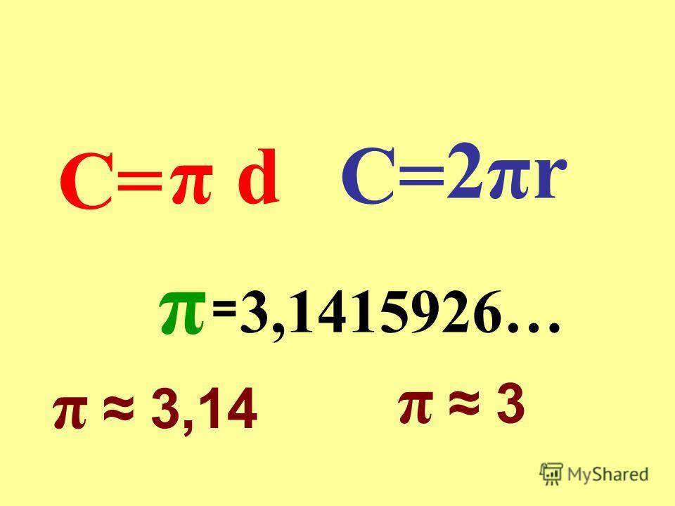 C : d= π C =C = C = π d= π 2r= 2 πr π d π d d=2r