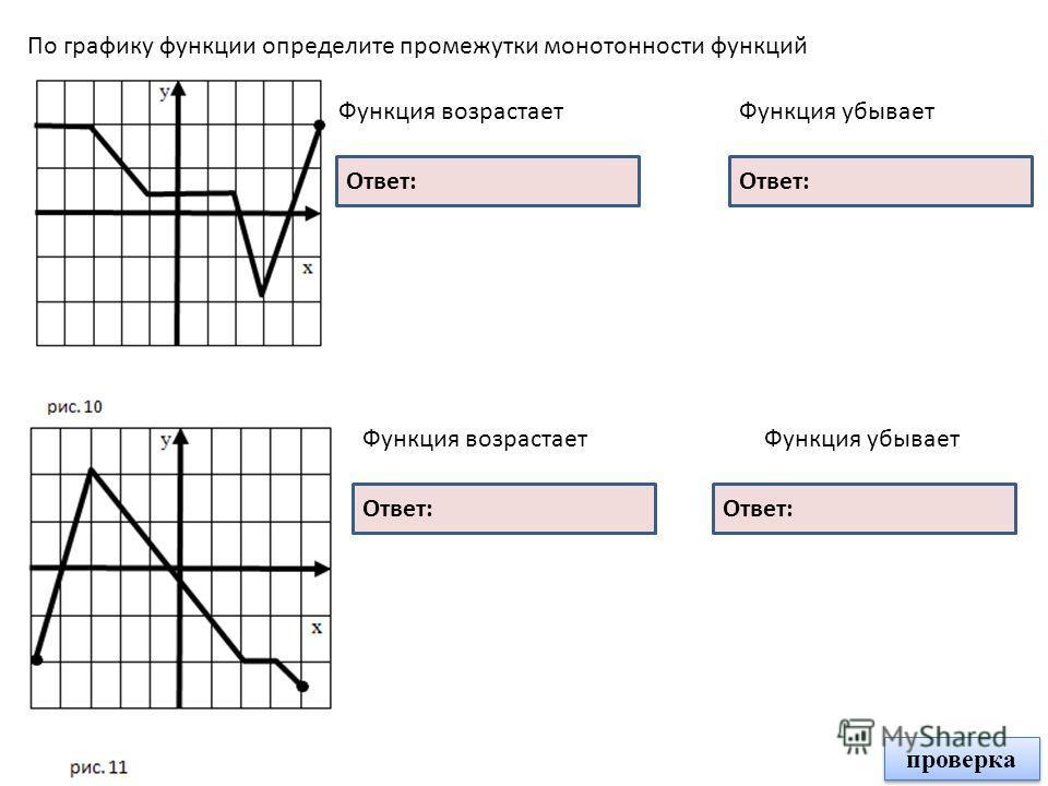 По графику функции определите промежутки монотонности функций Функция возрастает Ответ: Функция убывает Ответ: Функция возрастаетФункция убывает [- 3; - 2] [2; 3] [3; 5] [- 5; - 3] [- 3; 2] [3; 4] проверка