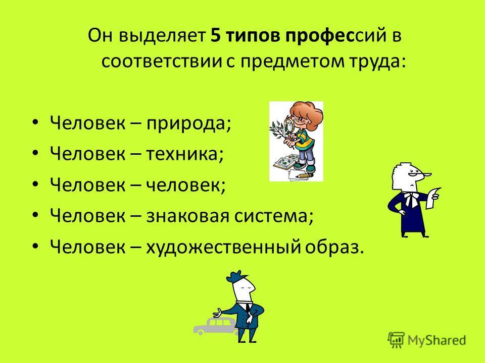 Он выделяет 5 типов профессий в соответствии с предметом труда: Человек – природа; Человек – техника; Человек – человек; Человек – знаковая система; Человек – художественный образ.