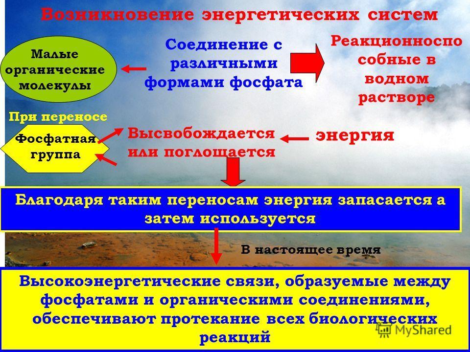 Возникновение энергетических систем Малые органические молекулы Соединение с различными формами фосфата Реакционноспо собные в водном растворе Фосфатная группа При переносе Высвобождается или поглощается энергия Благодаря таким переносам энергия запа