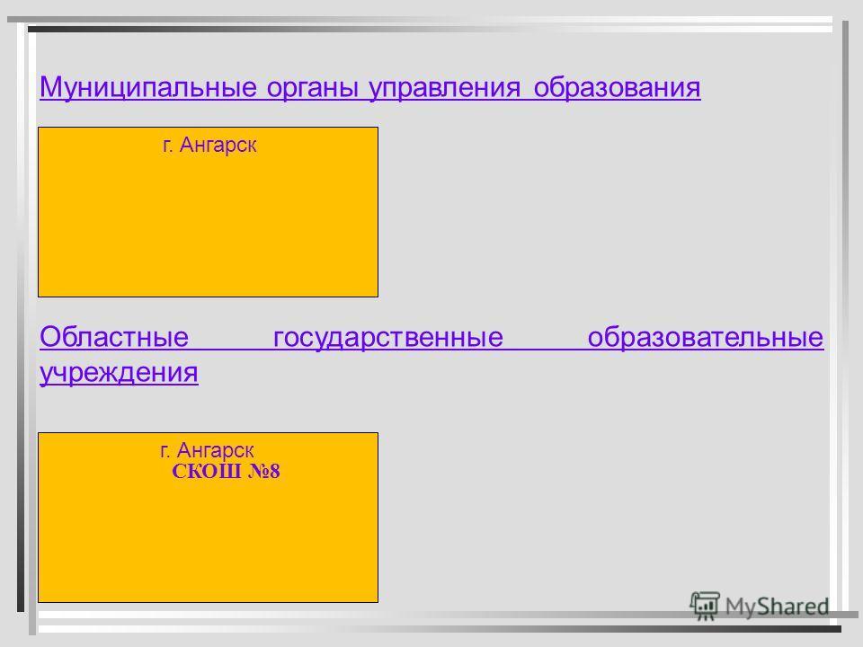 Муниципальные органы управления образования Областные государственные образовательные учреждения г. Ангарск СКОШ 8