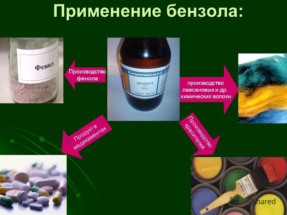 Применение бензола: производство лавсановых и др. химических волокн Производство фенола Производство красителей Продукт в медикаментах