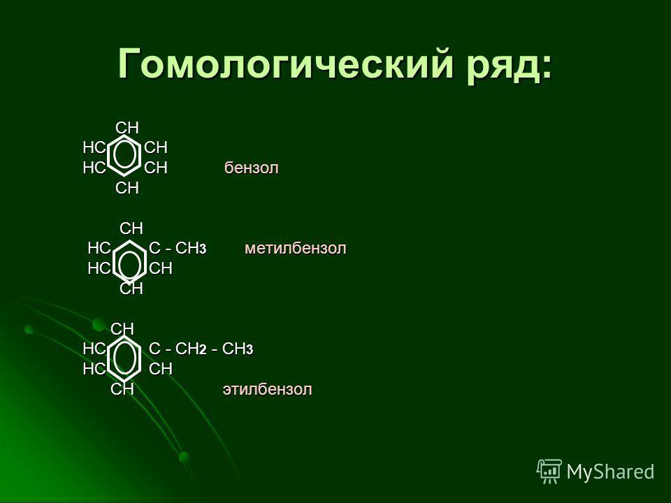 Гомологический ряд: CH CH HC CH HC CH HC CH бензол HC CH бензол CH CH HC C - СH 3 метилбензол HC C - СH 3 метилбензол HC CH HC CH CH CH HC C - CH 2 - CH 3 HC C - CH 2 - CH 3 HC CH HC CH CH этилбензол CH этилбензол