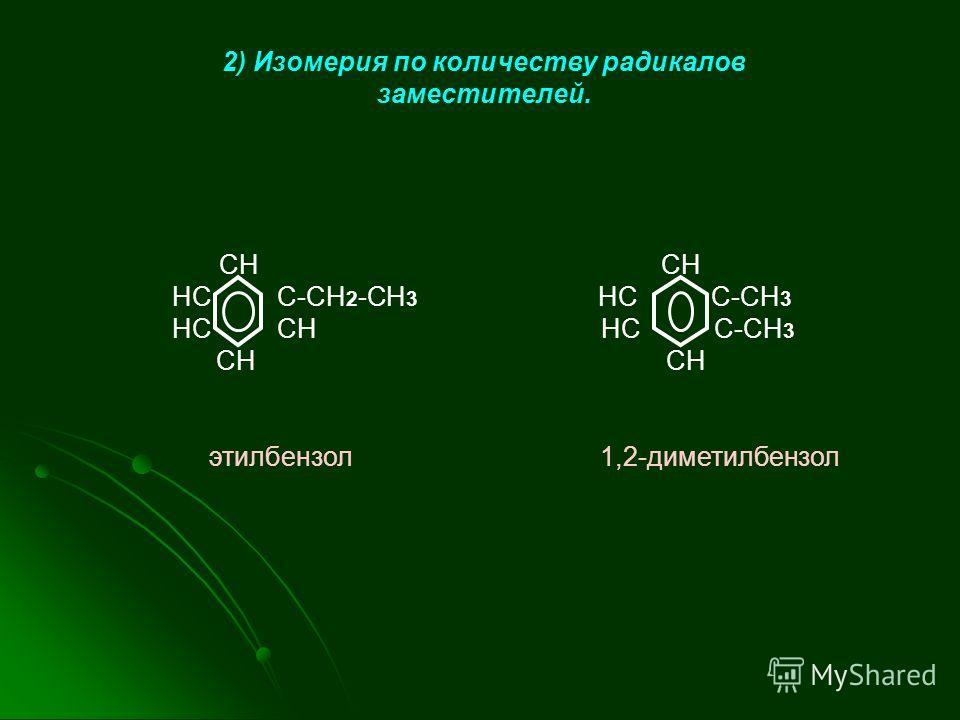 2) Изомерия по количеству радикалов заместителей. CH CH HC C-СH 2 -CH 3 HC C-CH 3 HC CH HC C-CH 3 CH CH этилбензол 1,2-диметилбензол