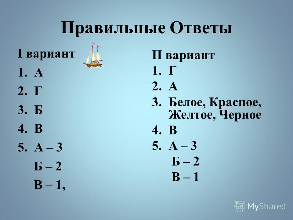 Правильные Ответы I вариант 1.А 2.Г 3.Б 4.В 5.А – 3 Б – 2 В – 1, II вариант 1.Г 2.А 3.Белое, Красное, Желтое, Черное 4.В 5.А – 3 Б – 2 В – 1