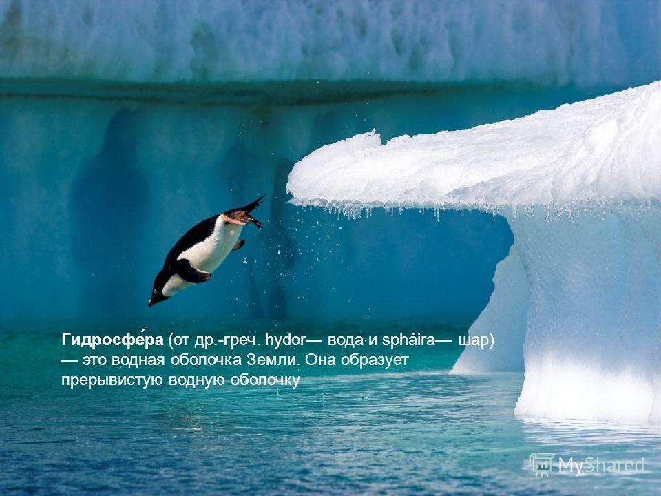 Гидросфе́ра (от др.-греч. hydor вода и spháira шар) это водная оболочка Земли. Она образует прерывистую водную оболочку