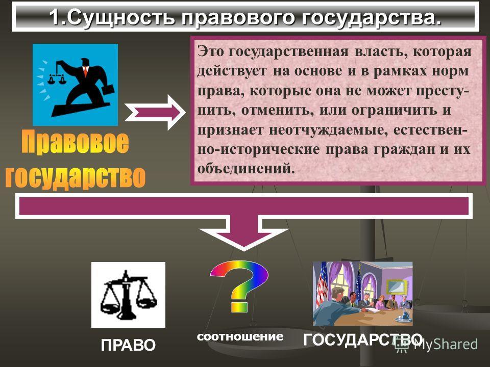 1.Сущность правового государства. Это государственная власть, которая действует на основе и в рамках норм права, которые она не может престу- пить, отменить, или ограничить и признает неотчуждаемые, естествен- но-исторические права граждан и их объед