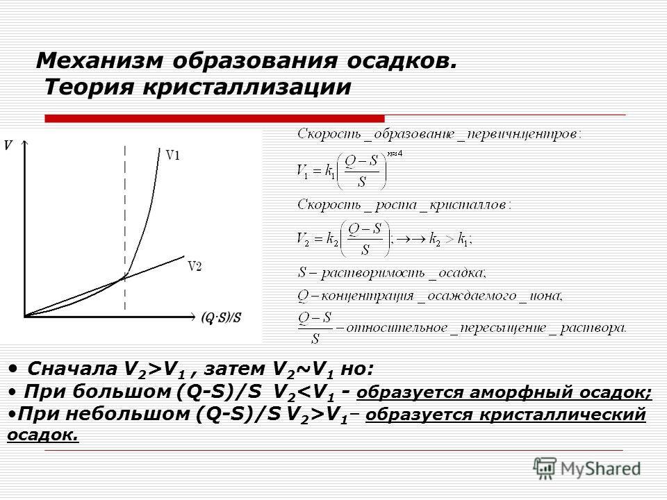 Механизм образования осадков. Теория кристаллизации Сначала V 2 >V 1, затем V 2 ~V 1 но: При большом (Q-S)/S V 2 V 1 – образуется кристаллический осадок.