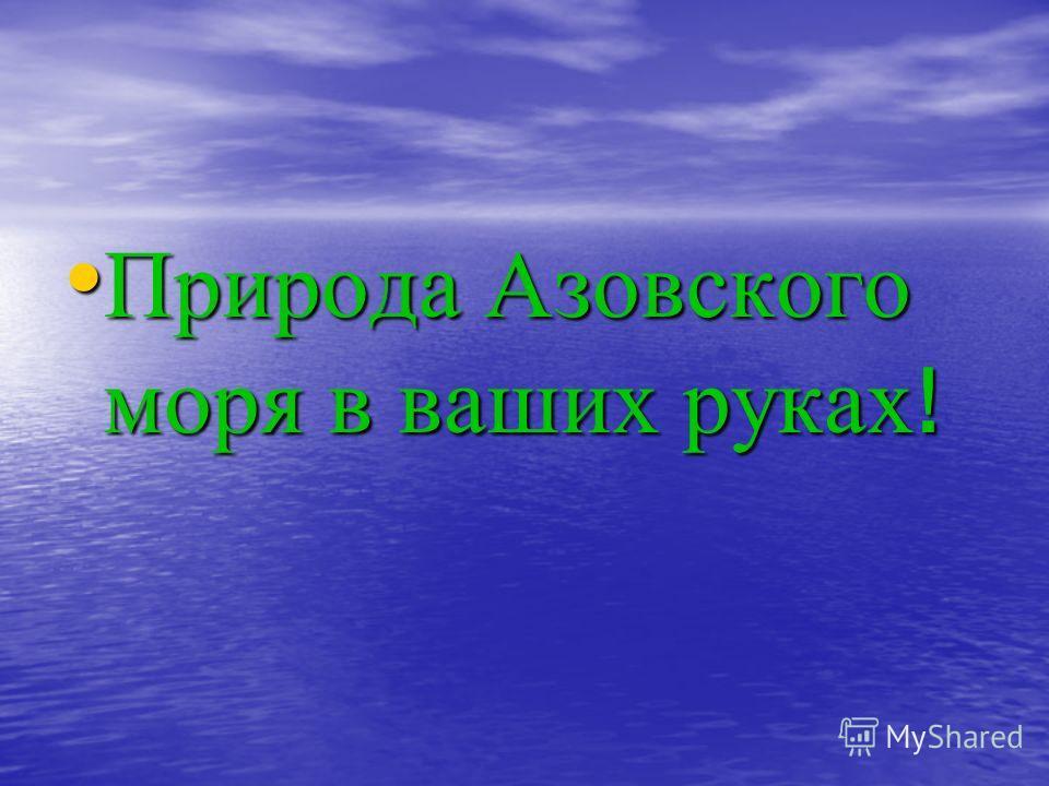 Природа Азовского моря в ваших руках ! Природа Азовского моря в ваших руках !