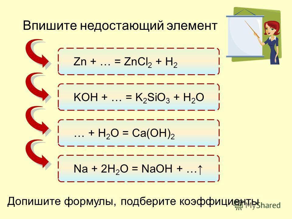 Допишите формулы, подберите коэффициенты Zn + … = ZnCl 2 + H 2 KOH + … = K 2 SiO 3 + H 2 O … + H 2 O = Ca(OH) 2 Na + 2H 2 O = NaOH + … Впишите недостающий элемент