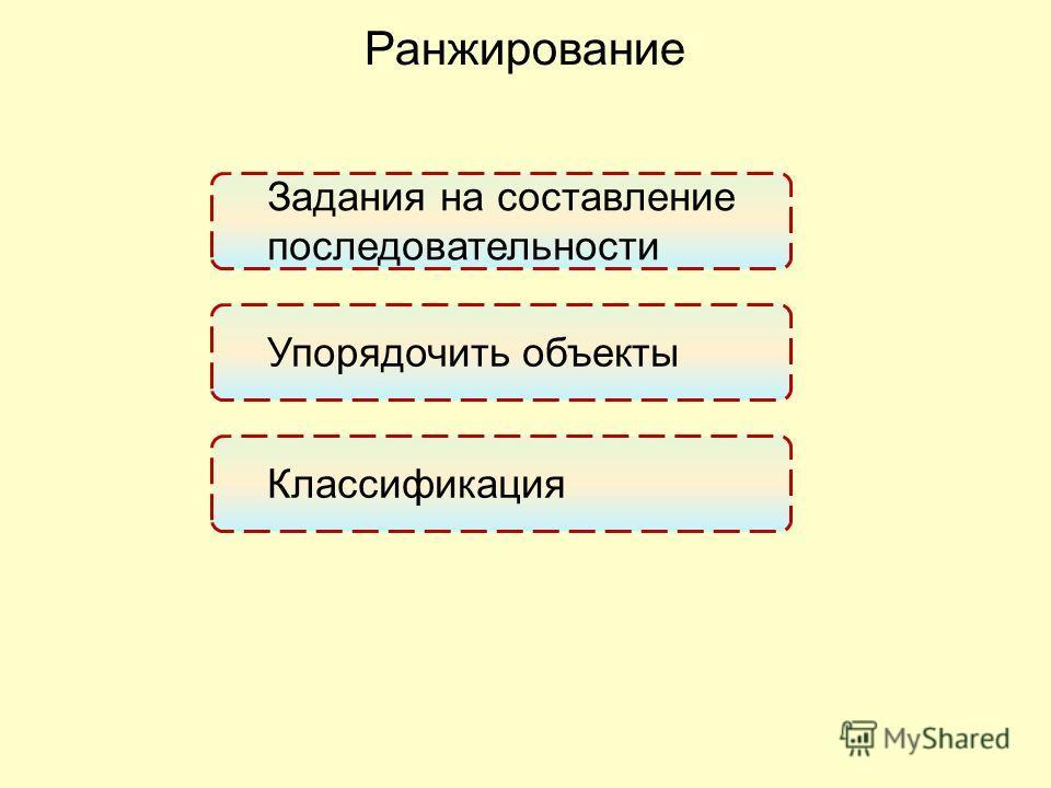 Ранжирование Задания на составление последовательности Упорядочить объекты Классификация
