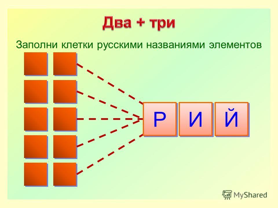 Р Р И И Й Й Заполни клетки русскими названиями элементов