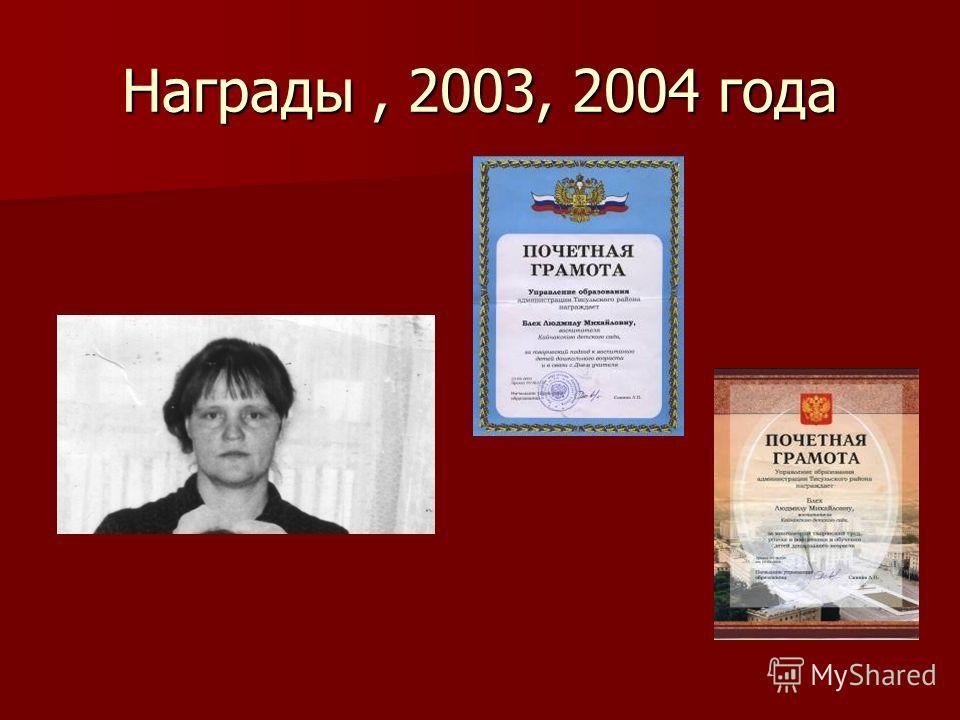 Награды, 2003, 2004 года
