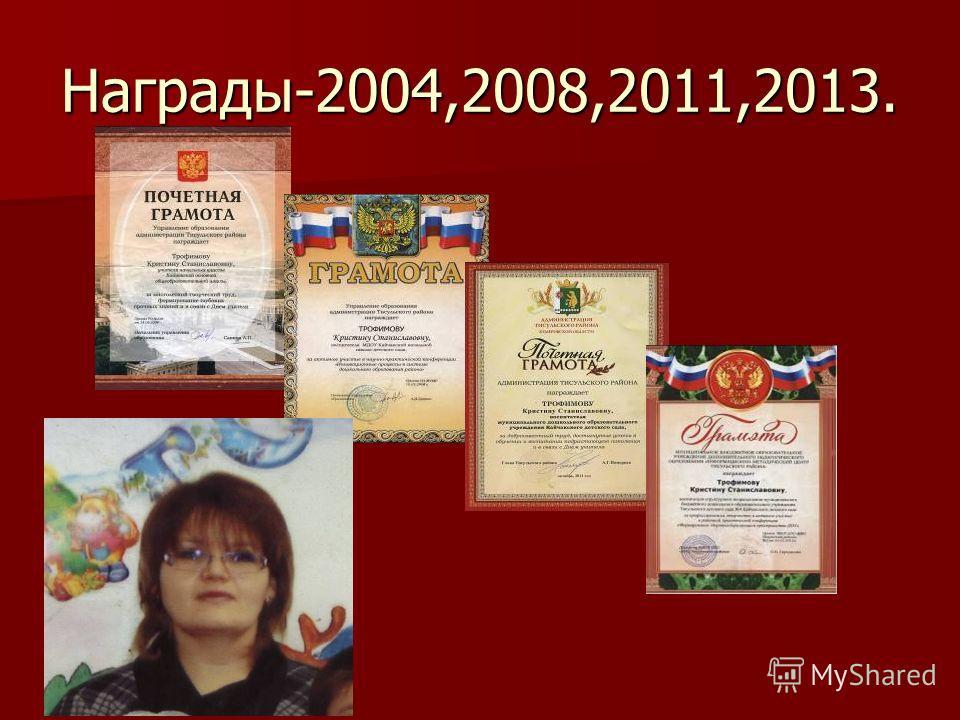 Награды-2004,2008,2011,2013.