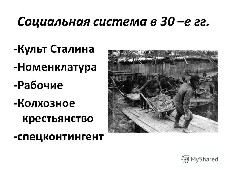 Социальная система в 30 –е гг. -Культ Сталина -Номенклатура -Рабочие -Колхозное крестьянство -спецконтингент