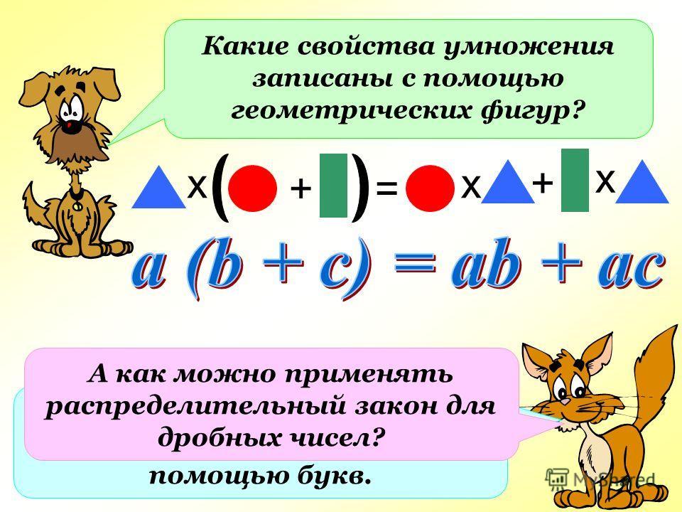 Какие свойства умножения записаны с помощью геометрических фигур? х = Запишите свойство алгебраическим способом с помощью букв. + + х х А как можно применять распределительный закон для дробных чисел?