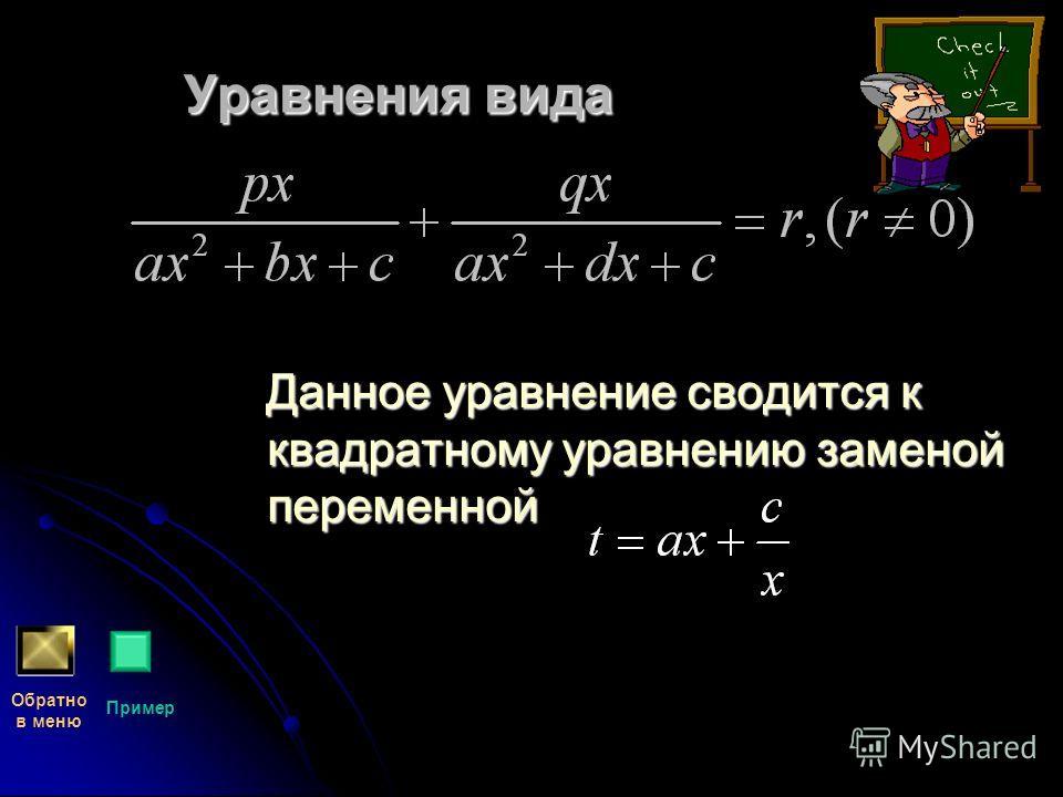 Уравнения вида Данное уравнение сводится к квадратному уравнению заменой переменной Данное уравнение сводится к квадратному уравнению заменой переменной Обратно в меню Пример