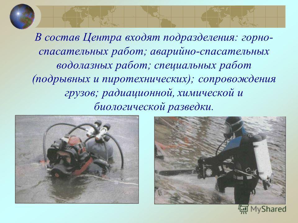 В состав Центра входят подразделения: горно- спасательных работ; аварийно-спасательных водолазных работ; специальных работ (подрывных и пиротехнических); сопровождения грузов; радиационной, химической и биологической разведки.