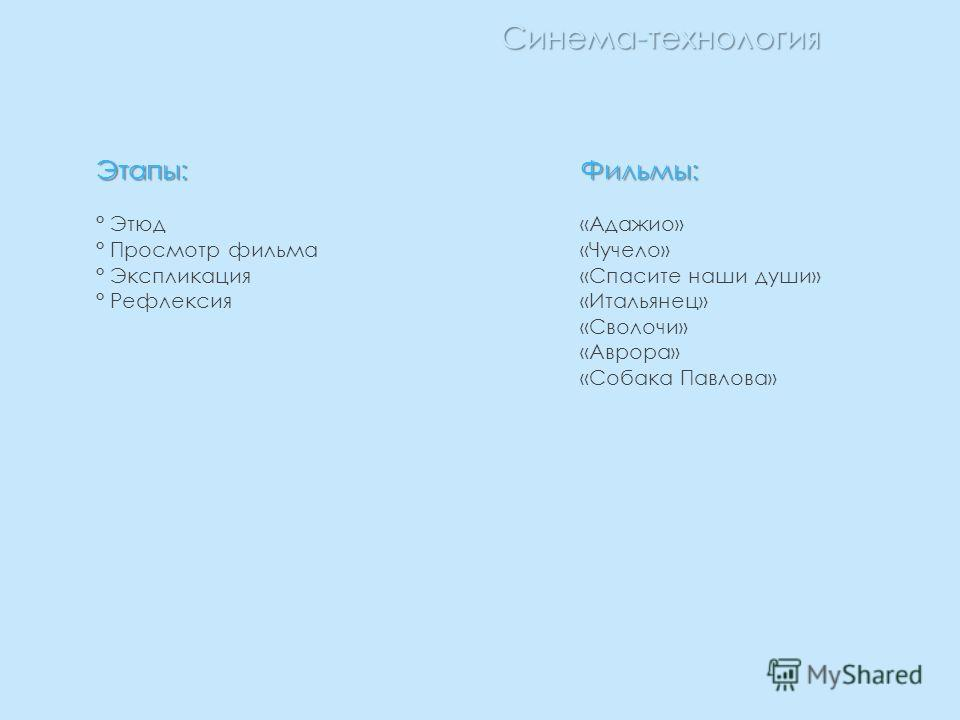 Синема-технология Этапы: ° Этюд ° Просмотр фильма ° Экспликация ° РефлексияФильмы: «Адажио» «Чучело» «Спасите наши души» «Итальянец» «Сволочи» «Аврора» «Собака Павлова»