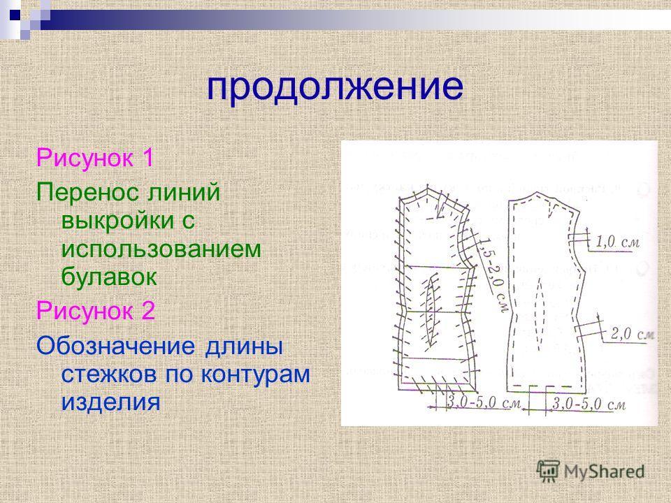 продолжение Рисунок 1 Перенос линий выкройки с использованием булавок Рисунок 2 Обозначение длины стежков по контурам изделия