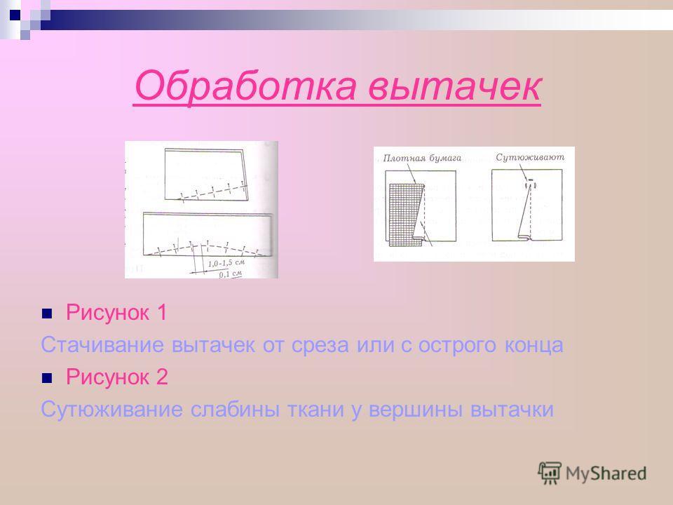 Обработка вытачек Рисунок 1 Стачивание вытачек от среза или с острого конца Рисунок 2 Сутюживание слабины ткани у вершины вытачки