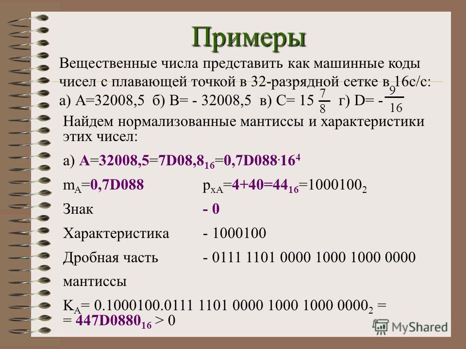 Примеры Вещественные числа представить как машинные коды чисел с плавающей точкой в 32-разрядной сетке в 16с/с: а) А=32008,5б) В= - 32008,5 в) С= 15г) D= - 7878 9 16 Найдем нормализованные мантиссы и характеристики этих чисел: а) А=32008,5=7D08,8 16