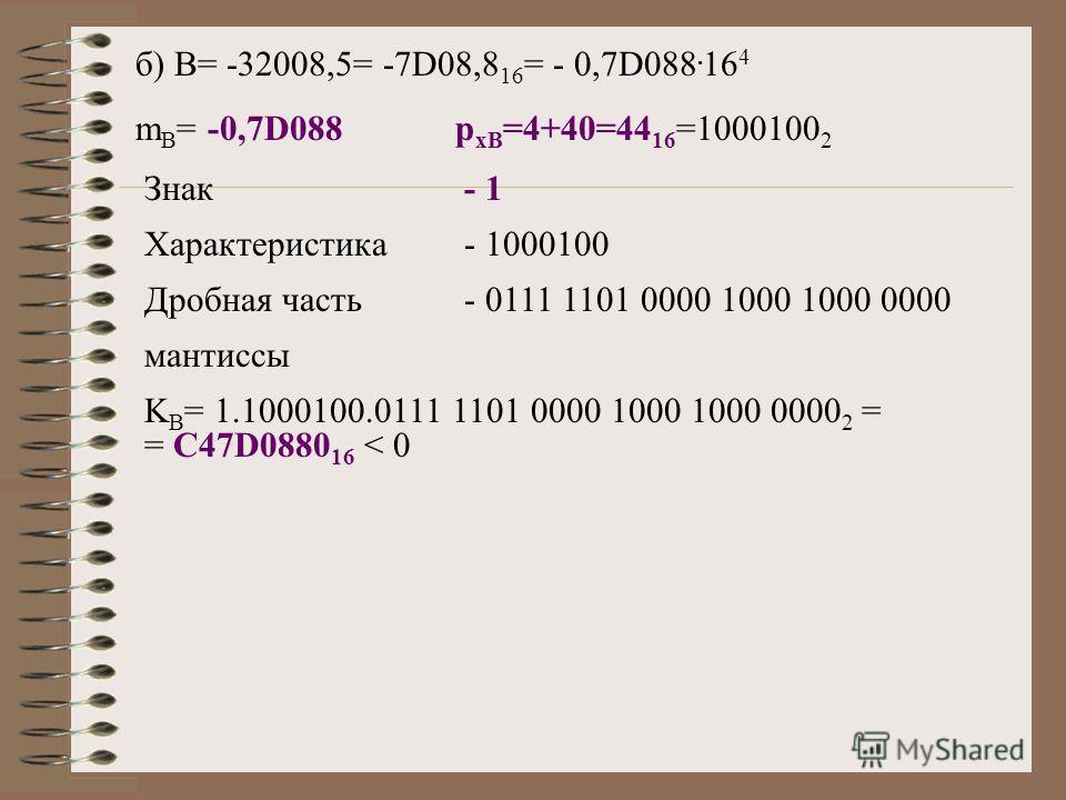 б) B= -32008,5= -7D08,8 16 = - 0,7D088. 16 4 m B = -0,7D088p xB =4+40=44 16 =1000100 2 Знак- 1 Характеристика- 1000100 Дробная часть- 0111 1101 0000 1000 1000 0000 мантиссы K B = 1.1000100.0111 1101 0000 1000 1000 0000 2 = = C47D0880 16 < 0