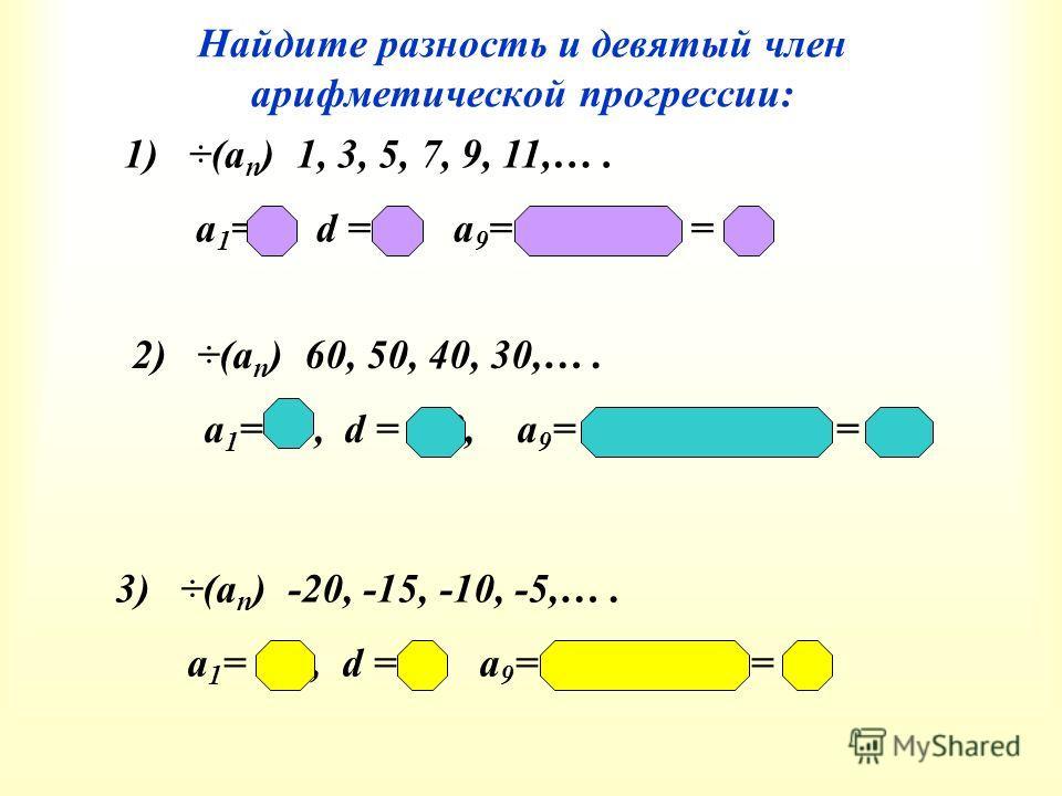 Найдите разность и девятый член арифметической прогрессии: 1) ÷(а n ) 1, 3, 5, 7, 9, 11,…. а 1 = 1, d = 2, а 9 = 1+(9-1)2 = 17 2) ÷(а n ) 60, 50, 40, 30,…. а 1 = 60, d = -10, а 9 = 60+(9-1)(-10) = -20 3) ÷(а n ) -20, -15, -10, -5,…. а 1 = -20, d = 5,