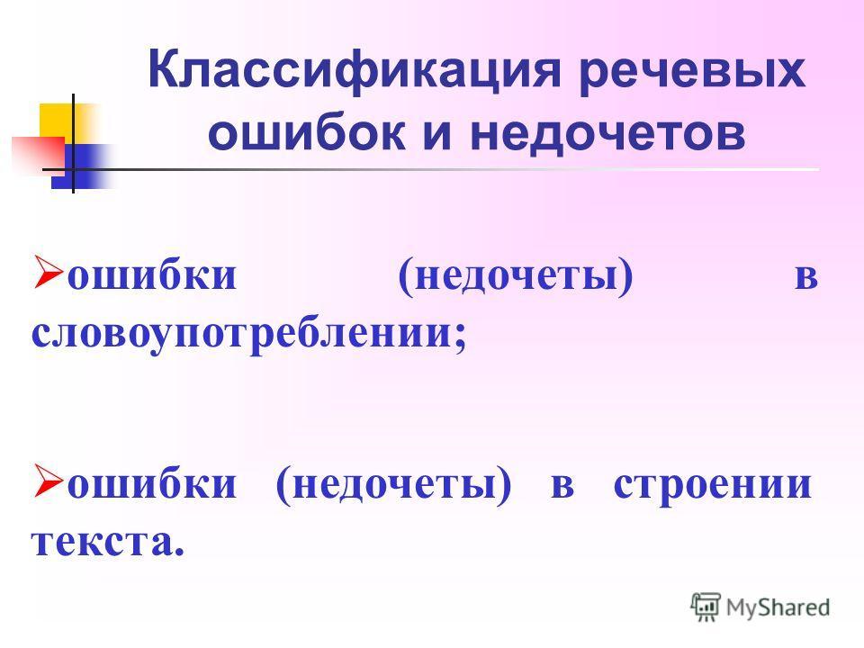 Классификация речевых ошибок и недочетов ошибки (недочеты) в словоупотреблении; ошибки (недочеты) в строении текста.